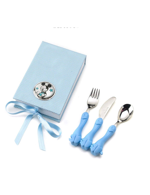 CUBIERTOS para BEBE con estuche y adorno de MICKEY en Plata bilamanida Color azul.