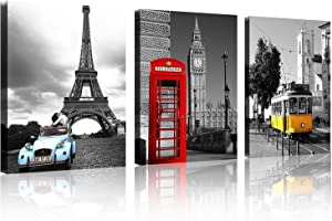 TutuBeer 3 Pcs Black and White with Eiffel Tower Red Car NYC Paris London Eiffel Tower New York City France Europe Big Ben Car Colorful Bus 3 Panel Set Wall Art Decor Canvas Framed Ready to Hang