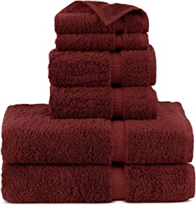 Indulge Linen 100% Turkish Cotton Towel Set (Cranberry, Towel Set - 6 Piece)