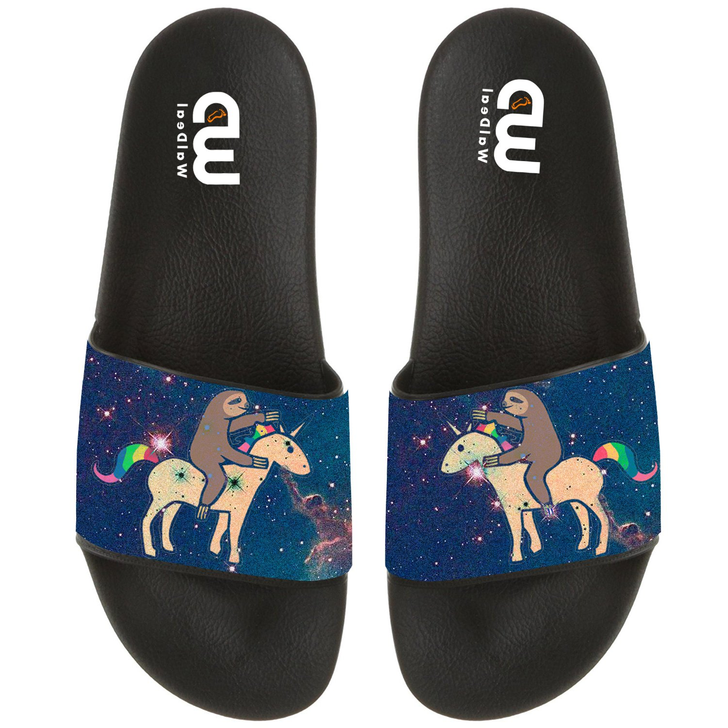Cartoon Sloth with Unicorn Summer Slide Slippers For Boy Girl Men Women Outdoor Indoor Beach Sandal Shoes