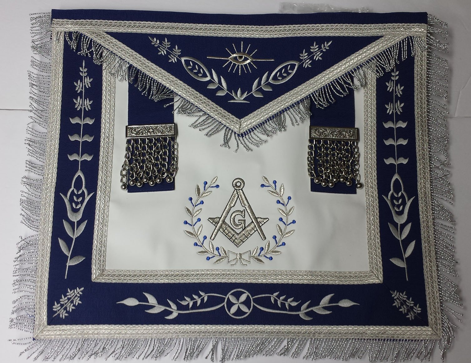 Masonic Apron--Master Mason Apron Navy Blue with Fringe Embroidered Silver G by Zest4Canada