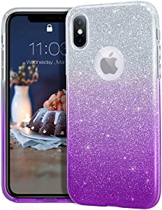 "MATEPROX iPhone Xs case,iPhone X Glitter Bling Sparkle Cute Girls Women Protective Case for iPhone Xs/X 5.8""-Gradient Purple"