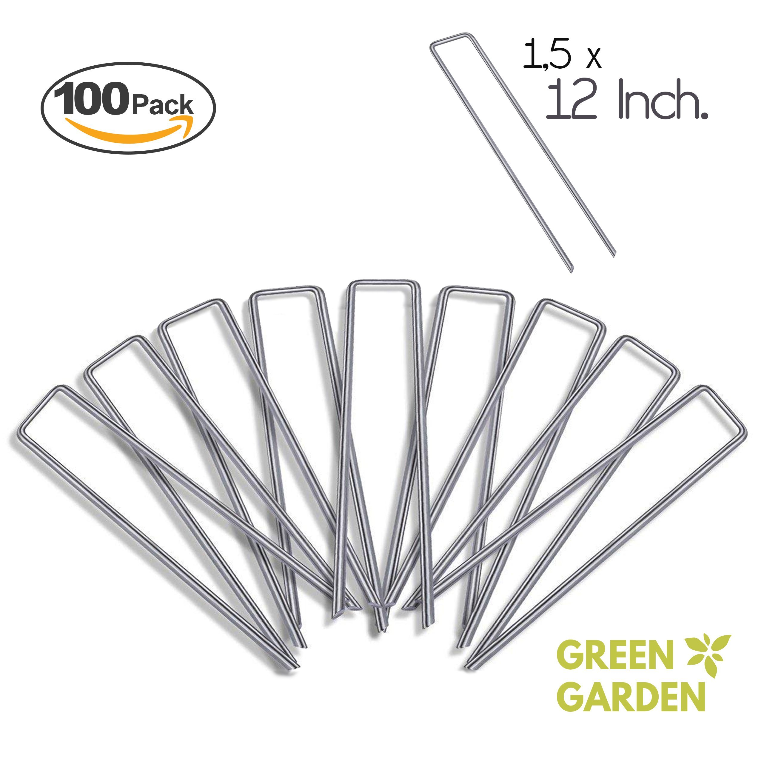 GreenGarden 12 Inch Garden Landscape Staples Stakes Pins SOD | 100 Pack | Galvanized Steel | For Weed Barrier Fabric, Ground Cover, Soaker Hose, Lawn Drippers, Drip Irrigation Tubing etc. | by
