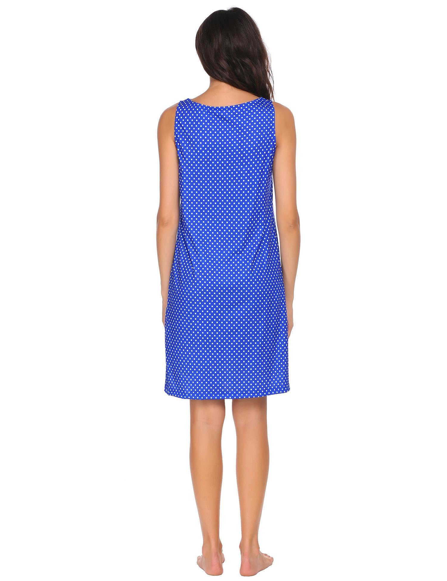 Damen Nachthemd Kleid Baumwolle spitze,6878_Blau,Small