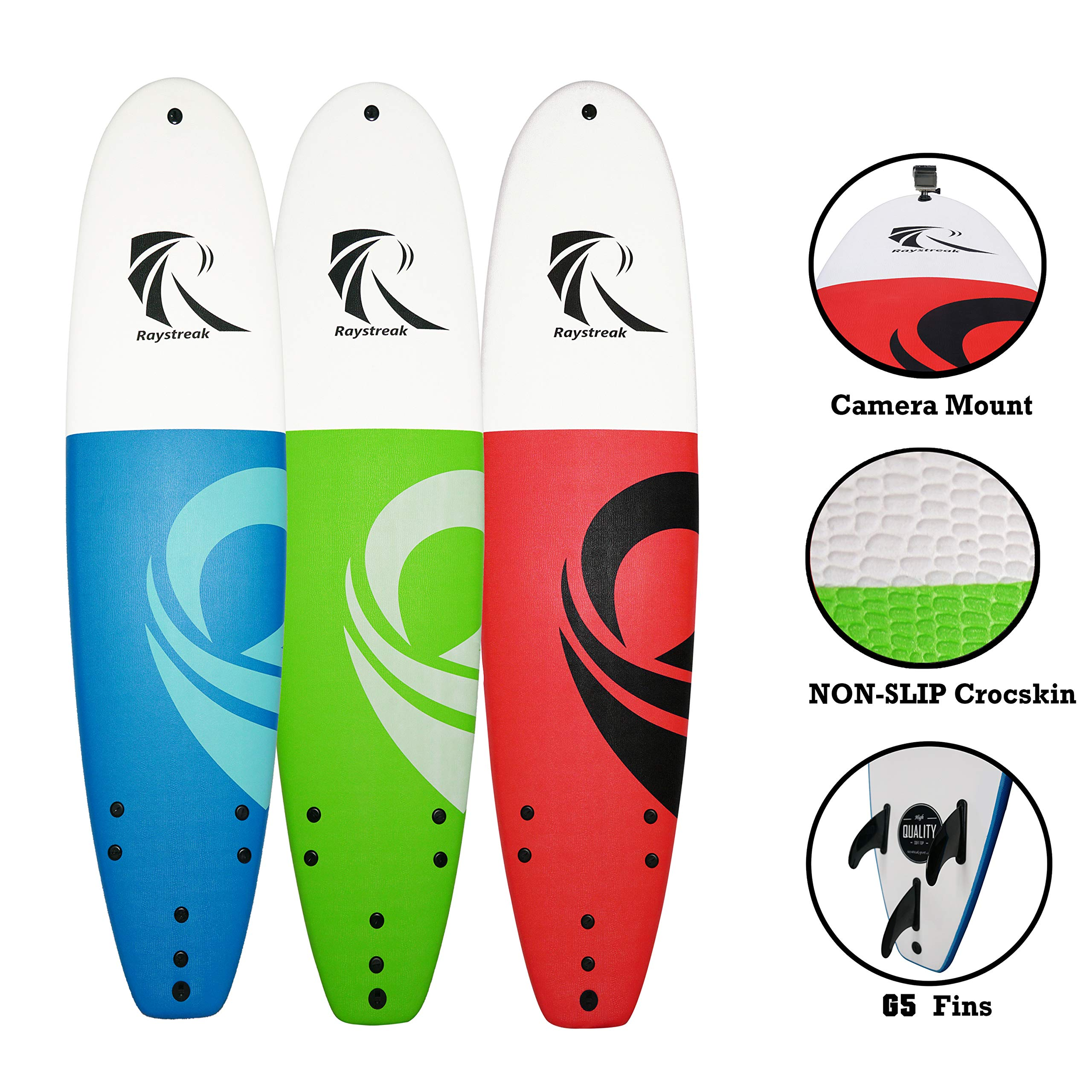 RAYSTREAK 8'2 Soft top Surfboard | 8ft 2 inches Soft Surf Board Longboard | Crocskin Non-Slip Deck Foam Surfboard| Performance Softboard Package with fin and Leash (Red by RAYSTREAK