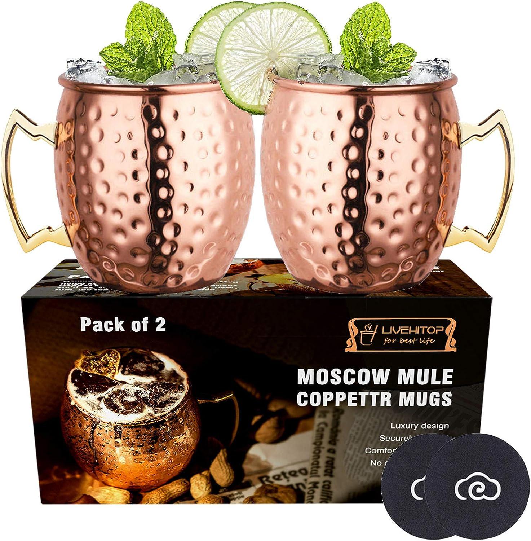 LIVEHITOP 2 Pieza Moscow Mule Taza de Cobre con Costers, Mula de Moscú Copas de cóctel para Fiesta, Bar, Casa, Hotel (Pack of 2)