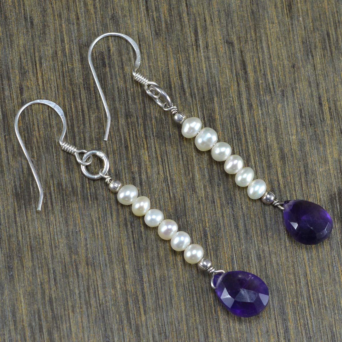 Silvestoo Jaipur Amethyst /& Pearl Gemstone 925 Sterling Silver Earring PG-105373