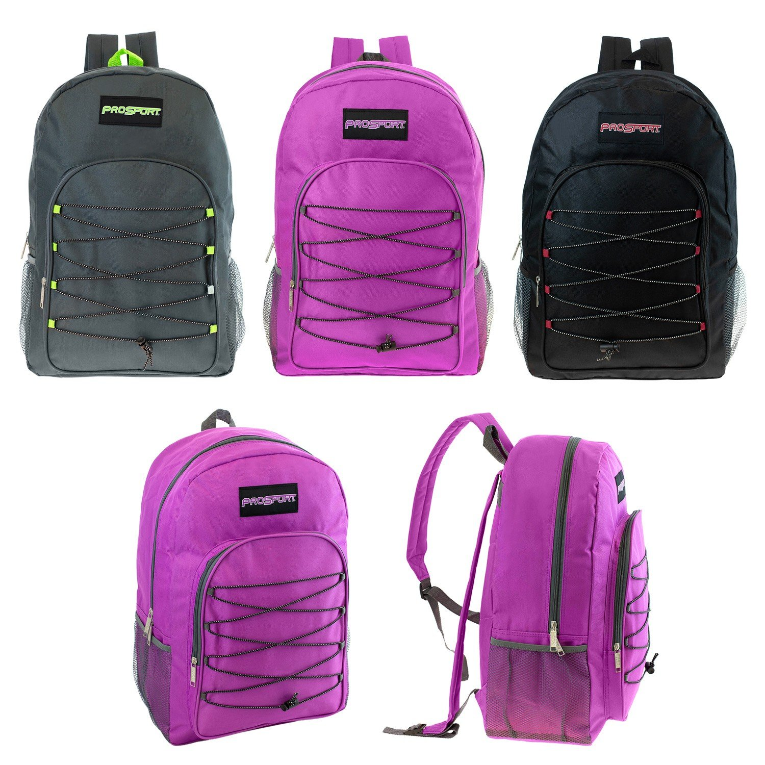Bulk Case of 24 Bookbags Wholesale 19 Heavy Duty Bungee Backpack in 3 Assorted Colors