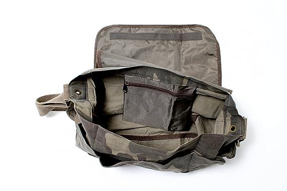 Amazon.com  Woodland Camouflage Mini Messenger Bag Heavyweight Cotton  Canvas Shoulder Bag with official Army Universe Pin  Camouflage Messenger  Bag  ... 46dfe58430e