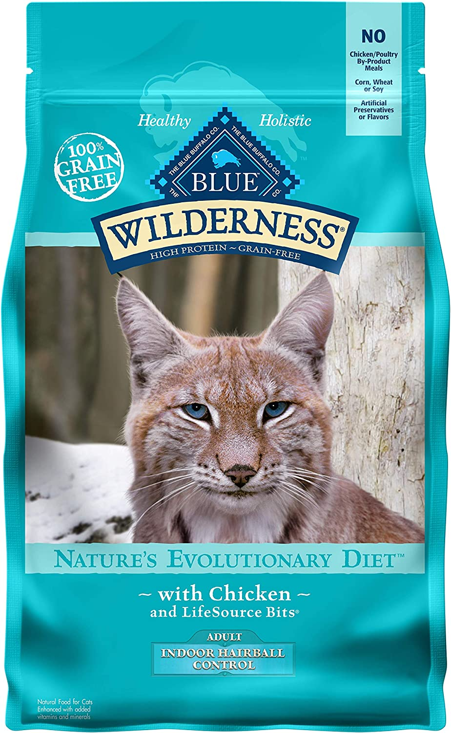 Blue Buffalo Wilderness High Protein Grain Free Natural Adult Indoor Hairball Control Dry Cat Food, Chicken 5-lb