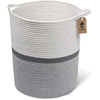 INDRESSME Large Cotton Rope Basket 14.2'' x 13.4'' x 16.2'' -Baby Laundry Basket Tall Woven Basket Blanket Nursery Bin