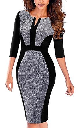 fbfd248b400b HOMEYEE Women's Vintage Wear to Work Sheath Dress B409 (4, Gray + Black)
