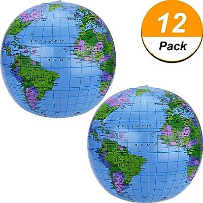 16 Pouces Globe Gonflable pour Gonflable du Monde Globe Terrestre Ballon de Plage pour Enfant, Bleu (Paquet de 12)