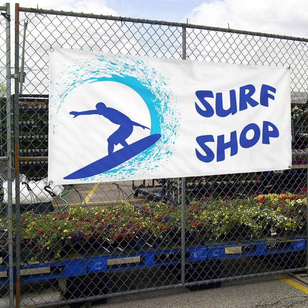 Vinyl Banner Multiple Sizes Surf Shop Outdoor Advertising Printing B Business Outdoor Weatherproof Industrial Yard Signs White 10 Grommets 60x144Inches