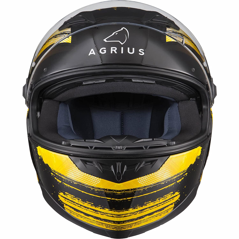 Agrius Rage SV Tracker Motorcycle Helmet XS Matt Black//Fluro Yellow