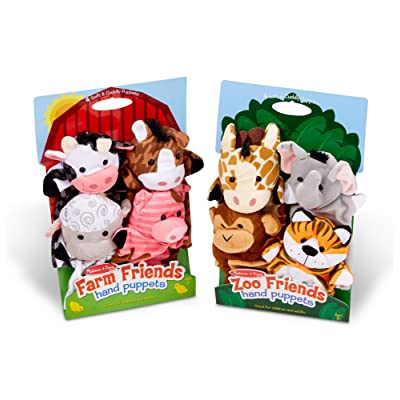 Melissa & Doug Zoo Friends Hand Puppets and Farm Friends Hand Puppets Bundle: Toys & Games [5Bkhe1201215]
