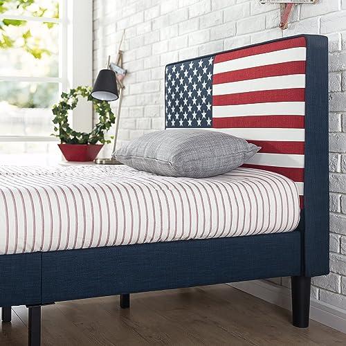 Zinus Upholstered USA Flag Design Platform Bed / Mattress Foundation / Easy Assembly / Strong Wood Slat Support