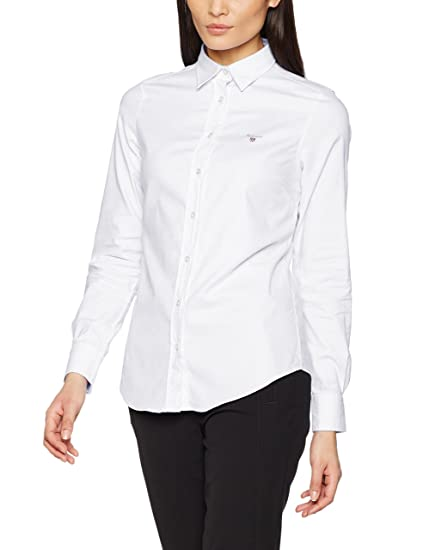 Gant Women's Stretch Oxford Solid Shirt, White, 10 (Manufacturer Size: ...