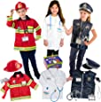 Born Toys Dress up Deluxe Premium First Responder Trunk Set,Fireman Costume.Police Costume,Doctor KIT, for Kids Ages 3-7