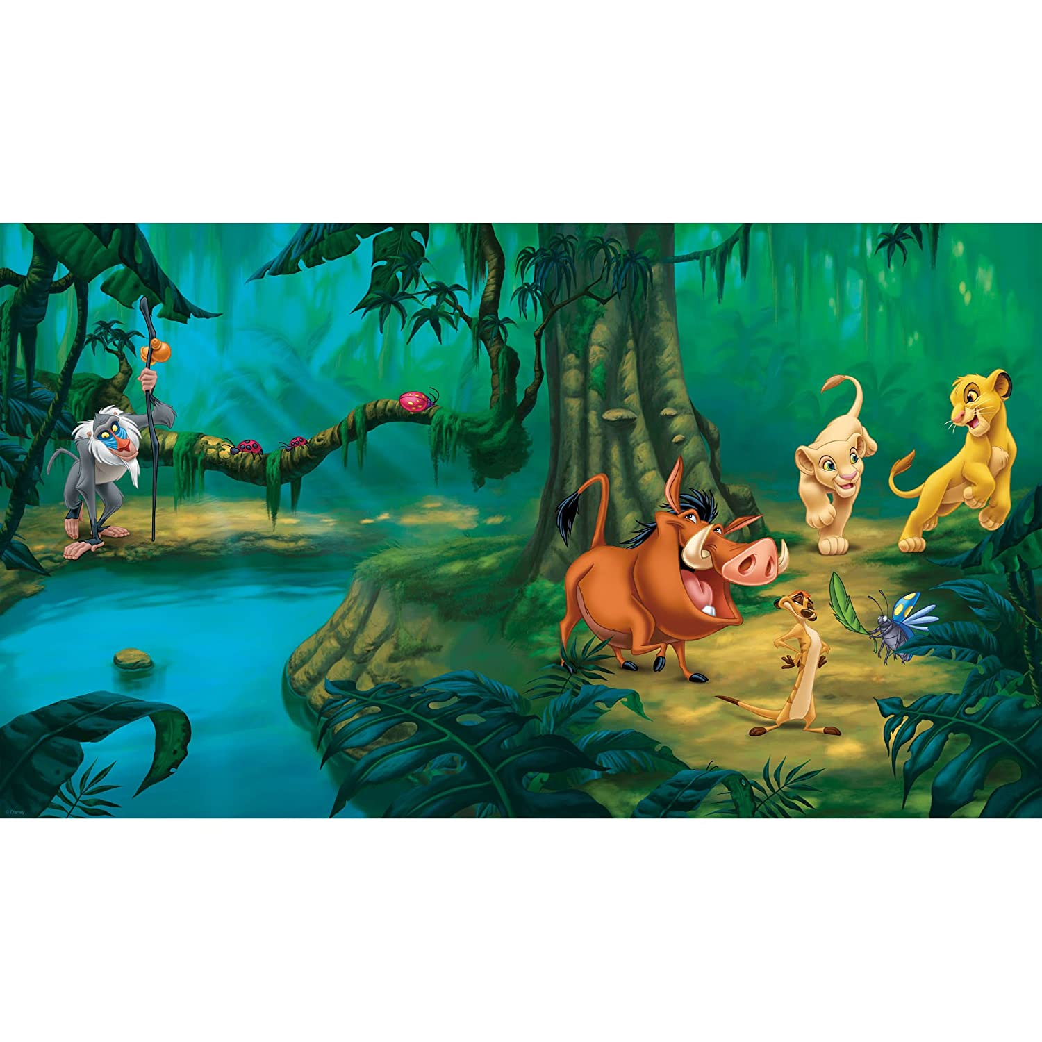 Beau RoomMates JL1253M Disney Lion King Chair Rail Prepasted Mural With 6 Feet  By 10.5 Feet Ultrastrippable   Wall Decor Stickers   Amazon.com