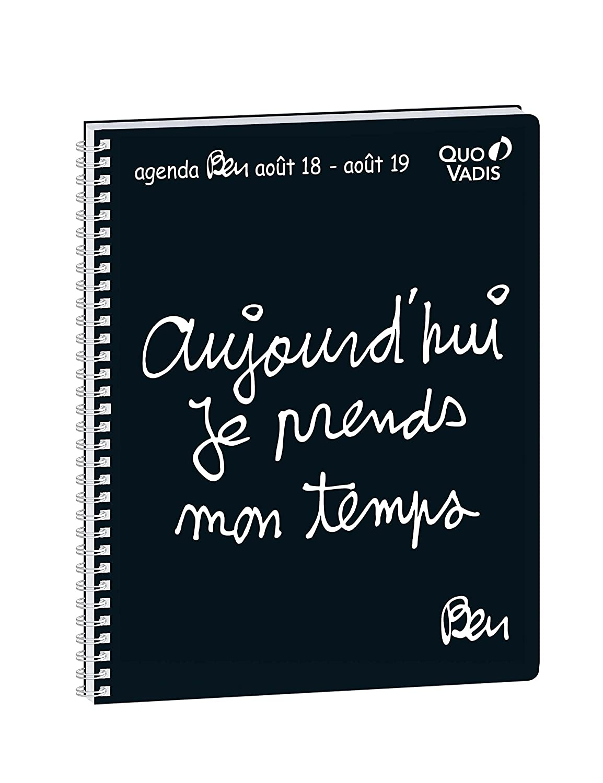 Quo Vadis Ben PRESIDENT SEPT Spiralé Agenda scolaire Semainier 21x27cm Noir Année 2018-2019 644056Q