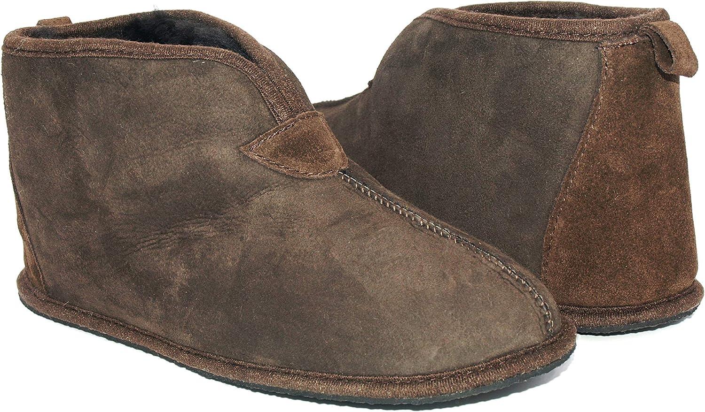 Sheepskin Slipper Boots Dark Brown Thin