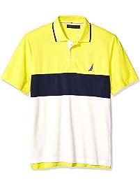 9a39a63cbb9 Nautica Mens Short Sleeve 100% Cotton Pique Color Block Polo Shirt Polo  Shirt