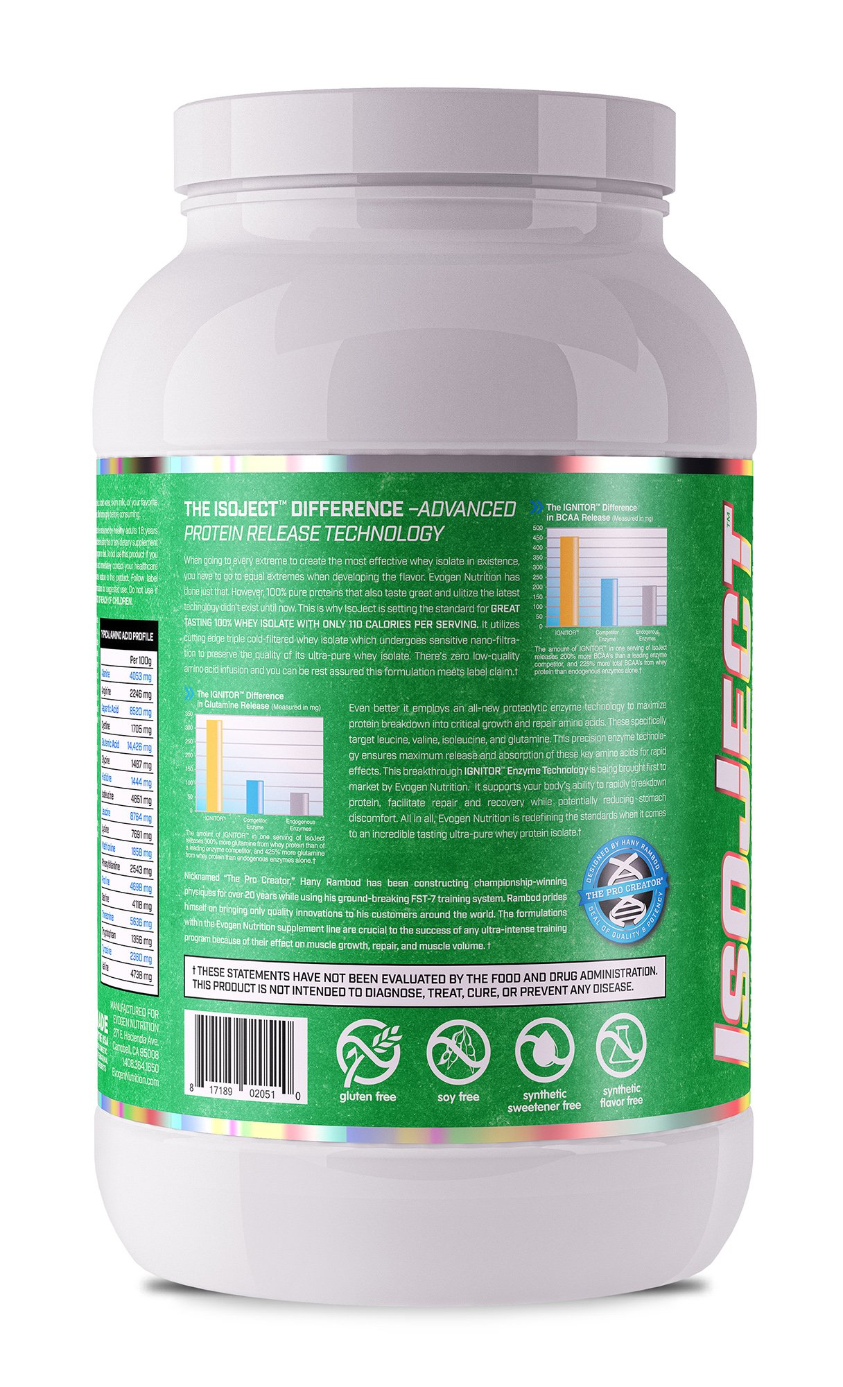 Evogen Isoject Naturals   Premium Whey Isolate w/Digestive Enzymes   28 Servings   Vanilla by Evogen Nutrition (Image #1)