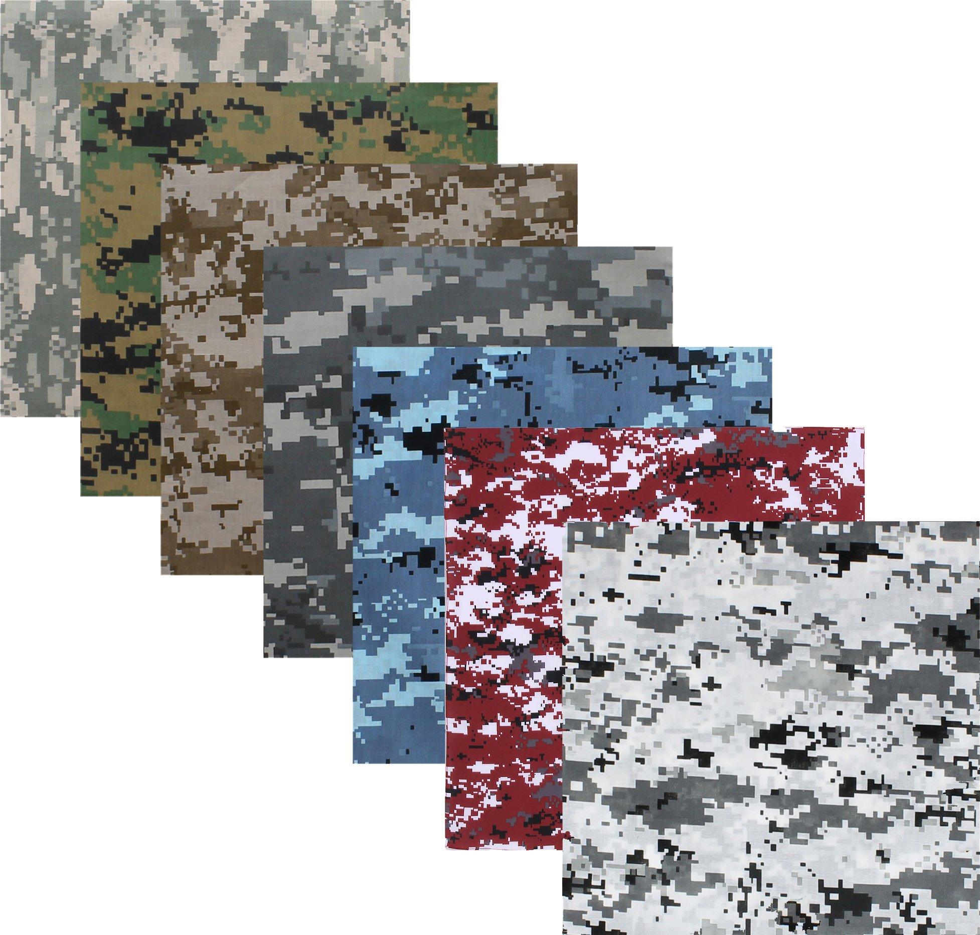 7 Pack - Digital Camouflage Cotton Military Bandanas (22'' x 22'')
