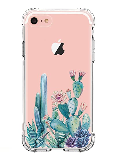 innovative design 1075a a45a1 luolnh Compatible with iPhone 5 case, iPhone 5s Se Case with Flowers, Slim  Shockproof Clear Floral Pattern Soft Flexible TPU Back Cover -Cactus