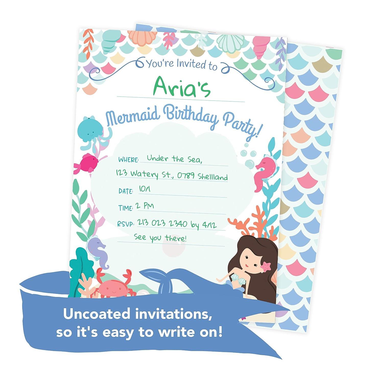 Amazon.com: Mermaid Happy Birthday Invitations Invite Cards (25 ...