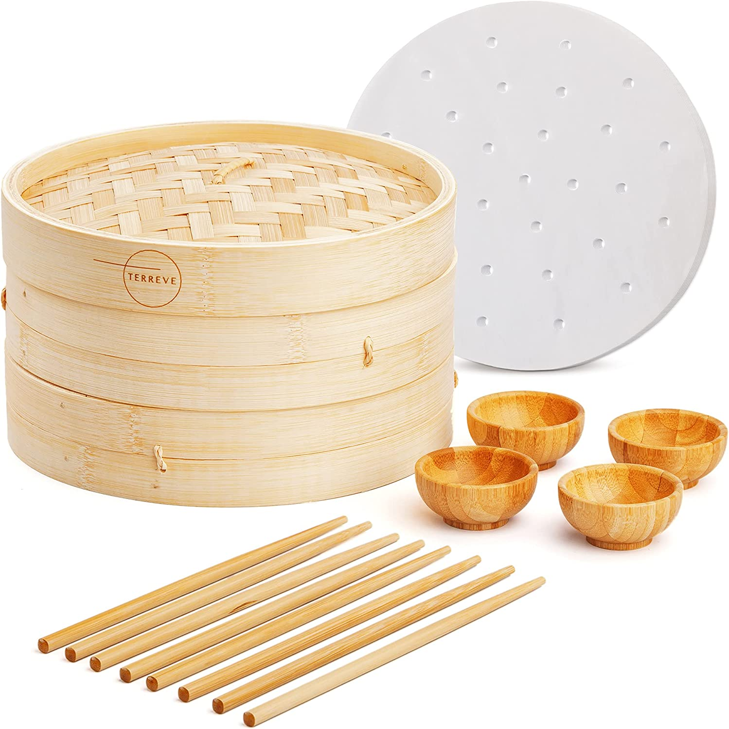 Bamboo Steamer Basket 10 Inch - 2 Tier Dumpling Steamer - Ideal For Cooking Asian Food, Dim Sum, Bao Bun, And More - Includes 4 Bamboo Bowls, 4 Pairs Of Chopsticks, And 50 Steamer Liners