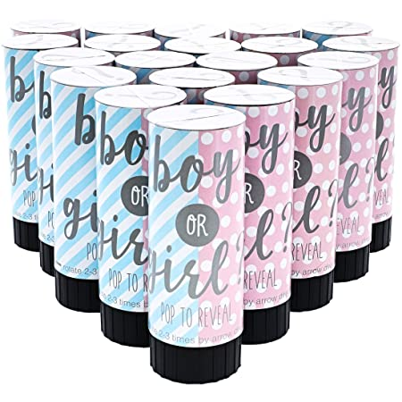 Gender Reveal Confetti Cannon Baby Shower BLUE or PINK 4 pack