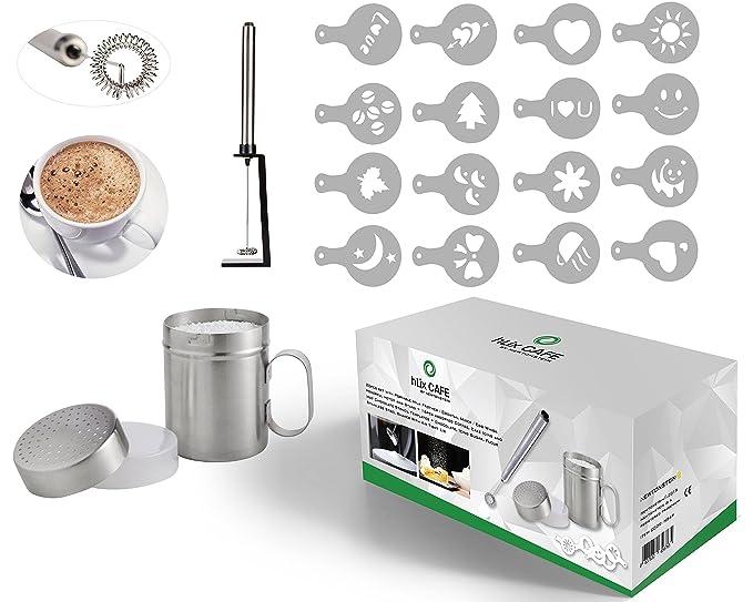 hLix CAFE - Juego de 20 piezas con batidor de leche portátil / Mezclador para cócteles / Batidor de huevos potente y Soporte + 16 piezas de plantillas para ...