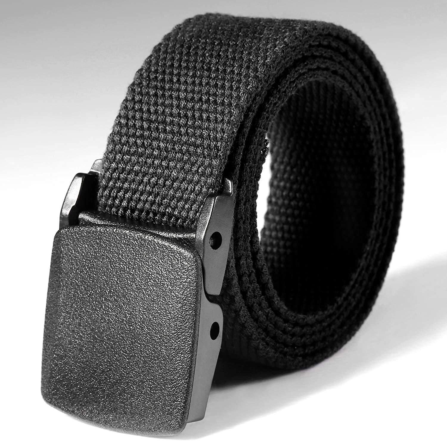Mens Buckle Long Canvas Nylon Waist Web Belt Metal-free Security Check Belt Top