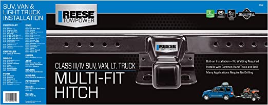 Amazon Com Reese Towpower 37042 Class Iii Multi Fit Receiver Hitch With 2 Receiver Opening Black Automotive