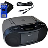 Sony Compact Portable Stereo Sound System Boombox with MP3 CD Player, Digital Tuner AM/FM Radio, Tape Cassette Recorder, Head