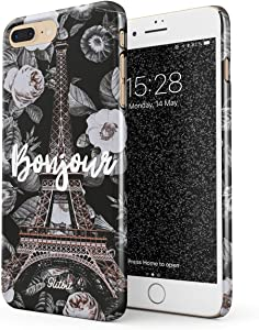 Glitbit Compatible with iPhone 7 Plus / 8 Plus Case Bonjour Paris Eiffel Tower Floral France City of Love Roses Flower Thin Design Durable Hard Shell Plastic Protective Case Cover