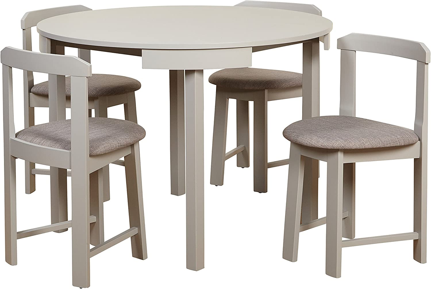 Target Marketing Systems Zuma Collection Compact Set 5-Piece Round Nesting Dining Table Chairs, Gray