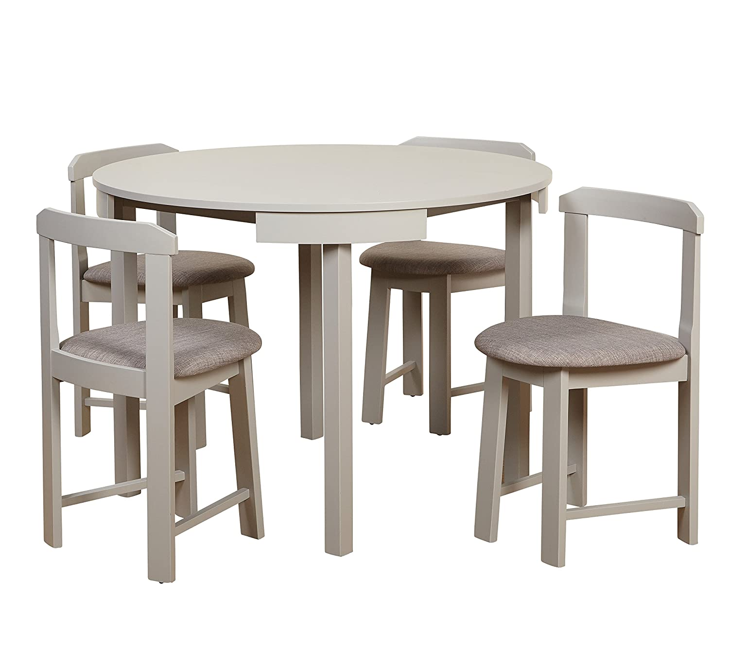 Target Marketing Systems 35515GRY Zuma Collection Compact Set 5-Piece Round Nesting Dining Table & Chairs, Gray