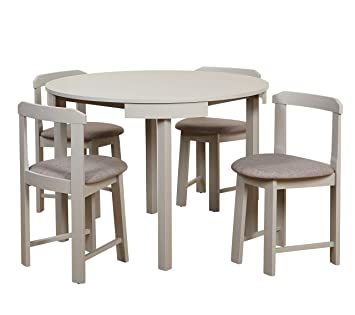 Target Marketing Systems Zuma Collection Compact Set 5 Piece Round Nesting Dining Table Chairs Gray