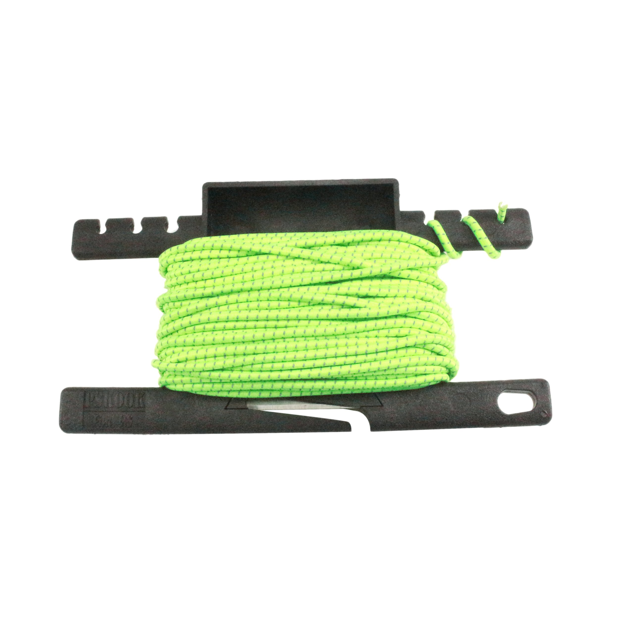 PSKOOK Reflective Shock Cord 1/8 inch Bungee Cord Elastic Rope Line for Outdoor Survival Camping Hiking 3mm 50FT with Spool Tool(50Feet Neon Green)