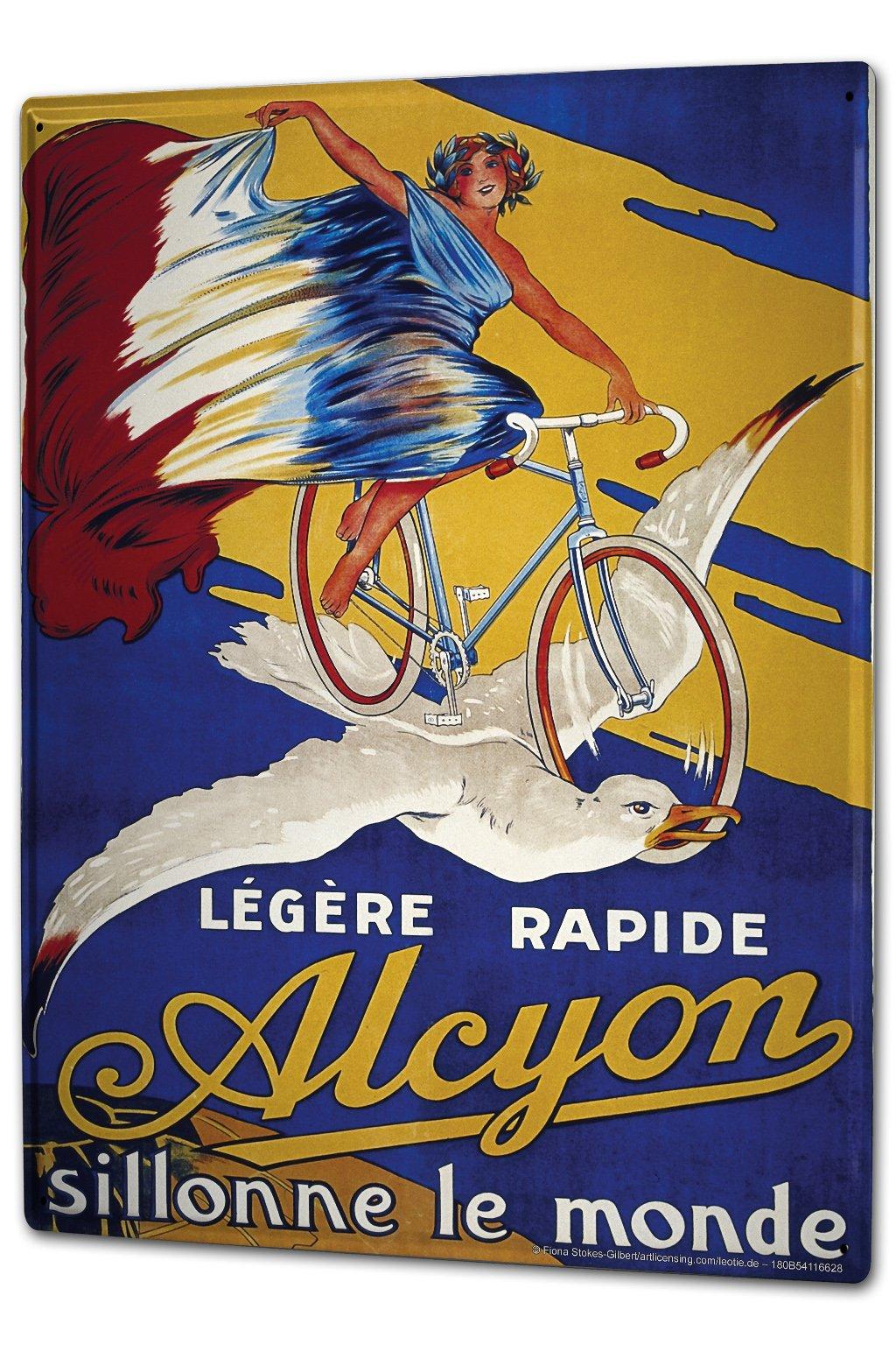 Tin Sign XXL Retro Motif Woman on bicycle