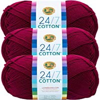 (3 Pack) Lion Brand Yarn 761-144 24-7 Cotton Yarn, Magenta
