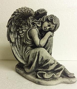 Steinfigur Engel Angel Gartenfigur Grabengel Grabschmuck Frostfrei Steinguss