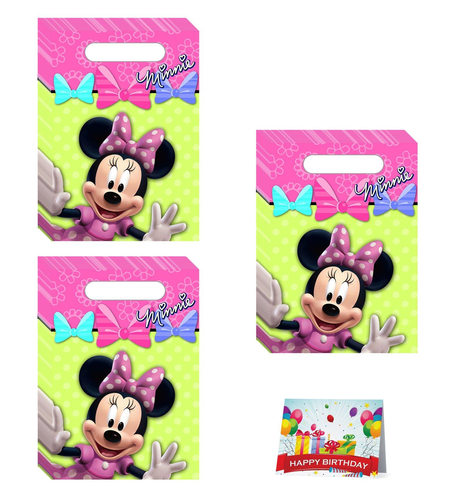 Minnie Mouse Birthday Party Favor Treat Bags Bundle Pack of 24