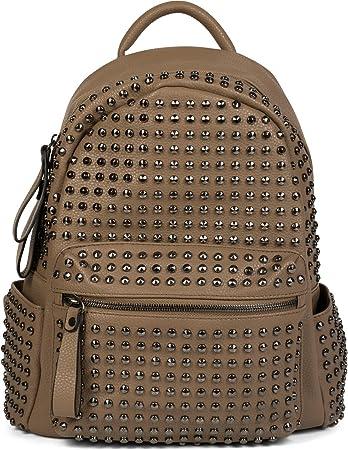 styleBREAKER Rucksack Handtasche mit Nieten, Reißverschluss, Tasche, Damen 02012226, Farbe:Braun