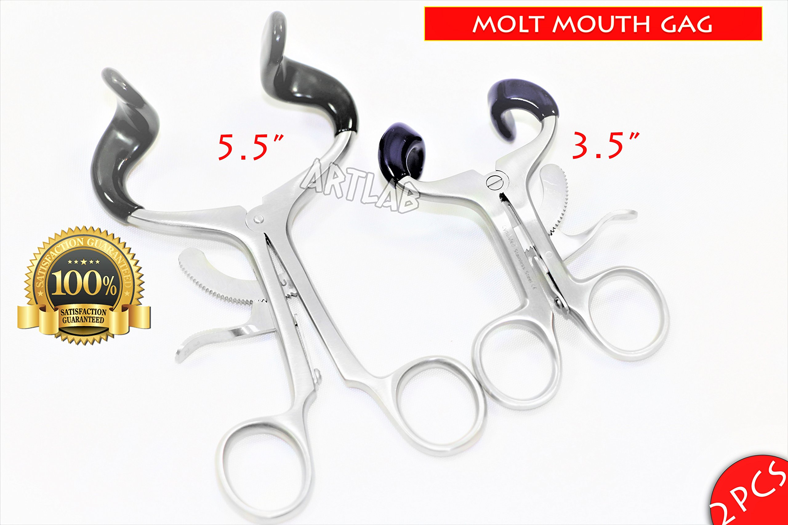 5.5'' + 3.5'' Molt Dental Mouth Gag with Silicone Tips Surgical Dental Oral Instrument (CYNAMED)