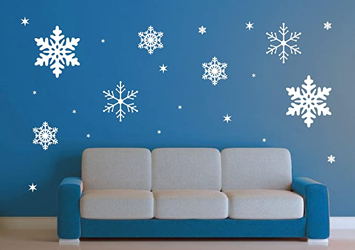 Snowflake Wall Decal Set   23 Snowflakes Kids Bedroom Living Room Decor  HallwayJesus Children Presents Delicate