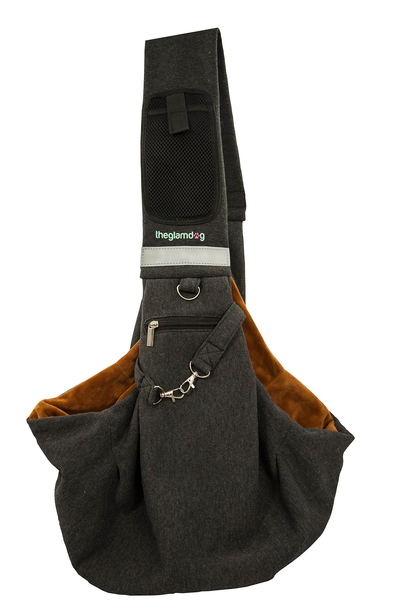 yohino Theglamdog Pet Carrier Shoulder Sling for Small Dogs and Cats, Smartphone Mesh Pocket with Velcro Closure and Zippered Pocket for Treats, Waste Bags, Small Flashlight (Black/Brown)